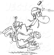 vector of a cartoon puck hitting a hockey player outlined