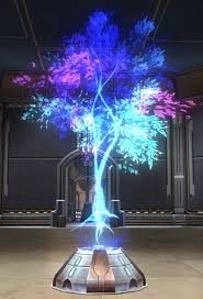 tor decorating holographic tree blue