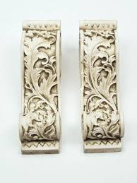 Curtain Rod Sconce Drapery Curtain Rod Sconce Scarf Holders Aged White Set Of 2