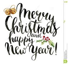 merry christmas modern watercolor print witn merry christmas and happy new year lettering