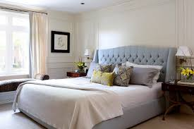 White Curtains With Yellow Flowers Wainscoting Headboard Bedroom Contemporary With Gray Headboard