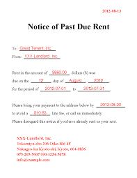 past due rent notice template and past due invoice notice letter