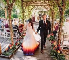 tie dye wedding dress dip dyes wedding gown to add an splash of