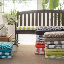 Garden Bench With Cushion Swing And Bench Cushions Hayneedle