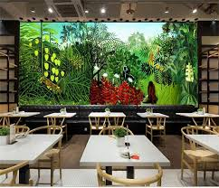 high quality 3d jungle wall murals wallpaper buy cheap 3d jungle custom 3d photo wallpaper room mural rousseau s jungle painting photo room sofa tv background wall non