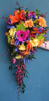 wedding flowers calgary bright mixed colored cascade wedding bouquet for calgary dahlia