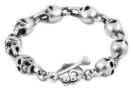 mens skull bracelet images Men 39 s stainless steel phantom skull bracelet badass jewelry jpg