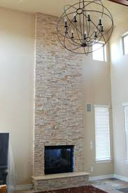 stack stone fireplace surround modern stacked pictures white
