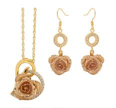 Gold Rose Gold Dipped Rose U0026 White Matched Jewelry Set In Heart Theme