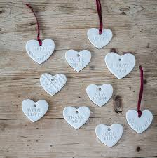 heart decorations gift message porcelain heart decorations by clare gage