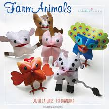 cootie catchers kids birthday party ideias farm animals paper