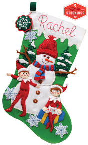 snowman and elves bucilla christmas stocking kit