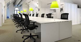 Office Desking Modular White Bench Desk With Mint Coloured Overhead