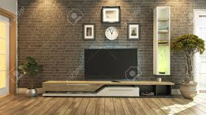 Livingroom Tv Tv Room Salon Or Living Room With Brick Wall Plant And Tv Design