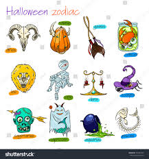colorful funny halloween zodiac signs all stock vector 501687490