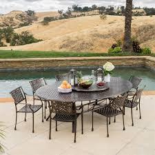 oval aluminum patio table best selling home décor vista outdoor cast aluminum large oval patio