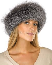 silver headband silver indigo fox fur headband furhatworld
