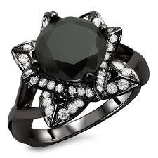 lotus flower engagement ring noori 14k black gold 2 1 2ct tdw certified black lotus flower