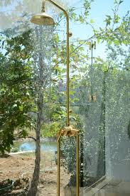 Exposed Outdoor Shower Fixtures - beautiful glass house shower features waterworks un lacquered
