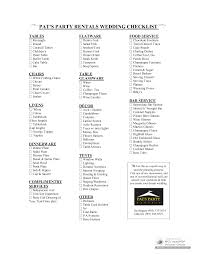wedding supplies rentals wedding reception supplies checklist pat s party rentals wedding