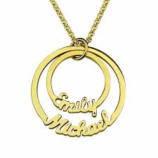 gold plated name necklace disc name necklace with two names 18k gold plated