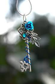 rose key necklace images Blue winter rose key necklace by keyperscove on etsy jpg