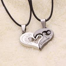 couple necklace chains images Men women lover couple necklace i love you heart shape pendant jpg