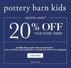 Pottery Barn Kid Promo Code 20 Off Pottery Barn Kids Promo Code Online In Stores Exp 4 30 17