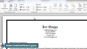 Full Word For Cv How To Add A Border To Your Résumé In Microsoft Word 2010 Youtube