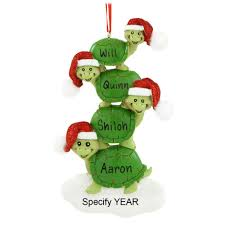 turtle family of 4 with santa hats personalized ornament penned