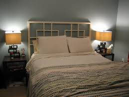 Headboard Woodworking Plans by Built A Headboard For My Bed Out Of Reused Pallet Wood Led Lights