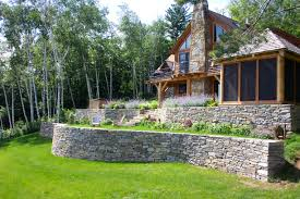 garden walls stone exterior design garden wall with landscaping and grass and