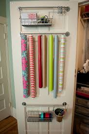 wrapping station ideas easy back of door gift wrap organizer limestone