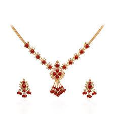 red stones gold necklace images Coral pearl coral heart beads gold necklace with earrings jpg