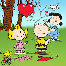 brown valentines peanuts characters with heart balloons for s day
