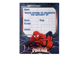 Spiderman Invitation Cards Sweet Pea Parties Spiderman Childrens Party Supplies