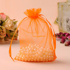 Lollipop Party Favors Orange Color Organza Jewelry Gift Bags Party Gift Favor Candy