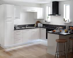 Modern Kitchen With White Appliances White And Black Kitchen With Appliances Kitchen Pinterest