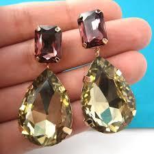 large stud earrings large fancy dangle rhinestone gemstone stud earrings in purple