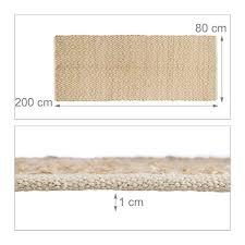 teppichl ufer flur relaxdays teppich jute flurläufer 80 x 200 cm naturfaser