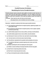 review sentences for errors parallel structure worksheets write