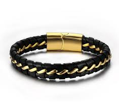 leather bracelet with gold images Men 39 s braided leather bracelet with stainless steel gold plated jpg