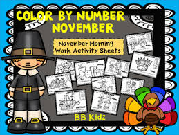 color by number november thanksgiving morning work by bb kidz