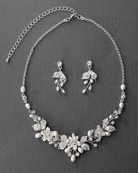 pearl necklace wedding set images Wedding jewelry set of metal flowers and pearls necklace jpg
