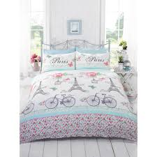 girls white bedding french chic paris duvet cover girls floral rose butterfly white