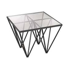Glass Side Table Bronze Accent Tables Living Room Furniture The Home Depot