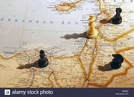 Egypt On Map Chess Pieces On Map Of Israel Egypt Jordan And Syria Stock Photo