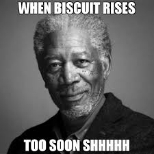 Too Soon Meme - when biscuit rises too soon shhhhh meme morgan freeman 66118