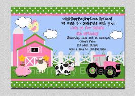 Example Of Invitation Card For Birthday Farm Birthday Invitations Kawaiitheo Com