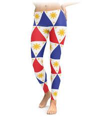Filipino Flag Colors Filipino Flag Geoemtric Leggings